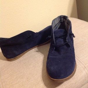 Lucky Leather Navy Blue Ankle Boots Bootie 10 NWOT